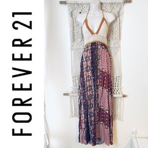 FOREVER 21 Crochet top boho hippie maxi dress